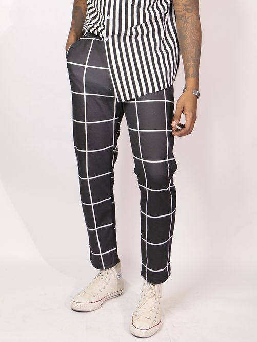 Black w/ White Striped Pants