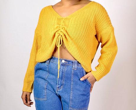 Mustard Sweater w/ rising string