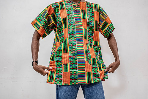 Dashiki (Orange & Green Afro Print)