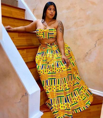 Multi-colored Print Skirt (Full length)