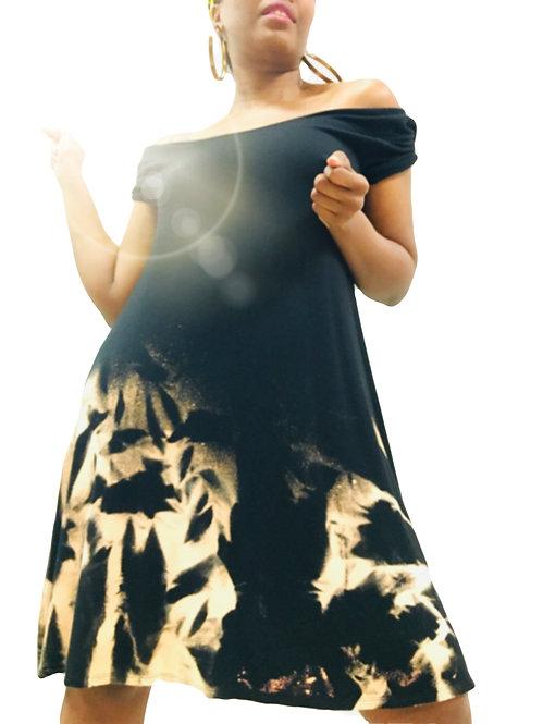 Short Sleeve Black Dress (Bleached bottom)