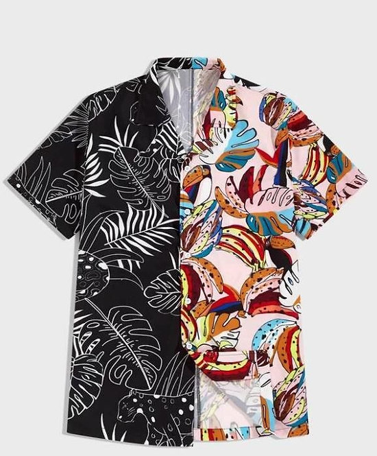 Spliced Tropical Print Shirt