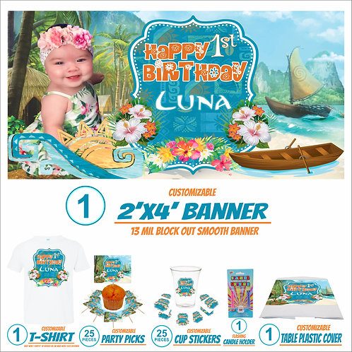 Moana Happy birthday banner personalized Design