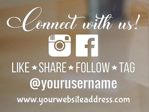 Follow Us on Instagram Facebook Sticker - Storefront Window Decal - Custom-Desig