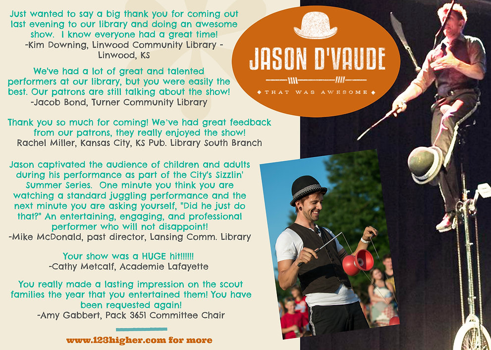 Jason D'Vaude does great at Public Libraries Summer Programs