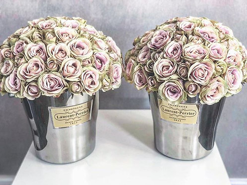 Magnum Laurent Perrier Bucket Filled with Silk Roses