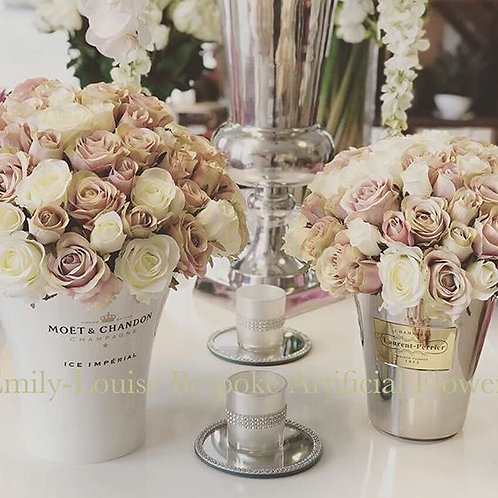 LP Standard Size Champagne Bucket Filled with Silk Roses.