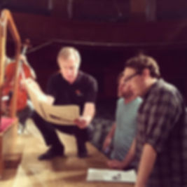 (right to left) Matt Browne, composer Steve Mackey, and conductor David Robertson