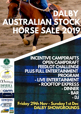 Dalby Stock Horse Sale 2019 Event Flyer.