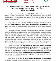 Cartel sindicatos bases interinxs CCOO,