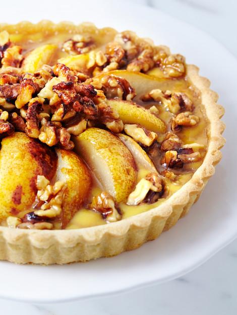 Pear Walnut Maple Custard Tart