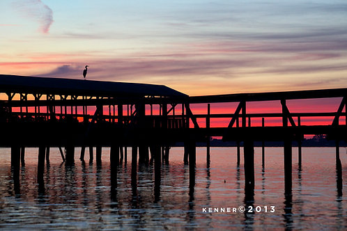 Egret on Pier at Sunset