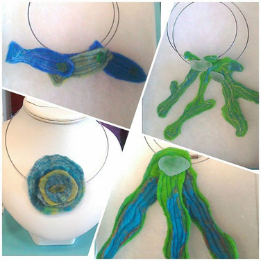 Handmade felt necklaces with sea glass from Scottish beaches. Selection always available.