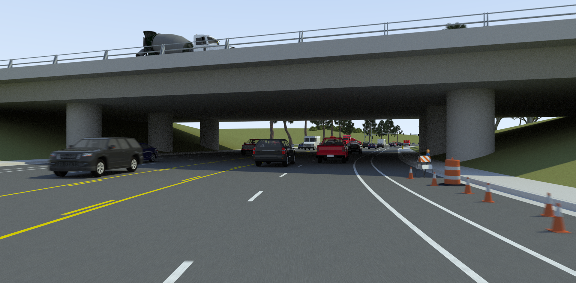 VectorZero Bridge with Traffic