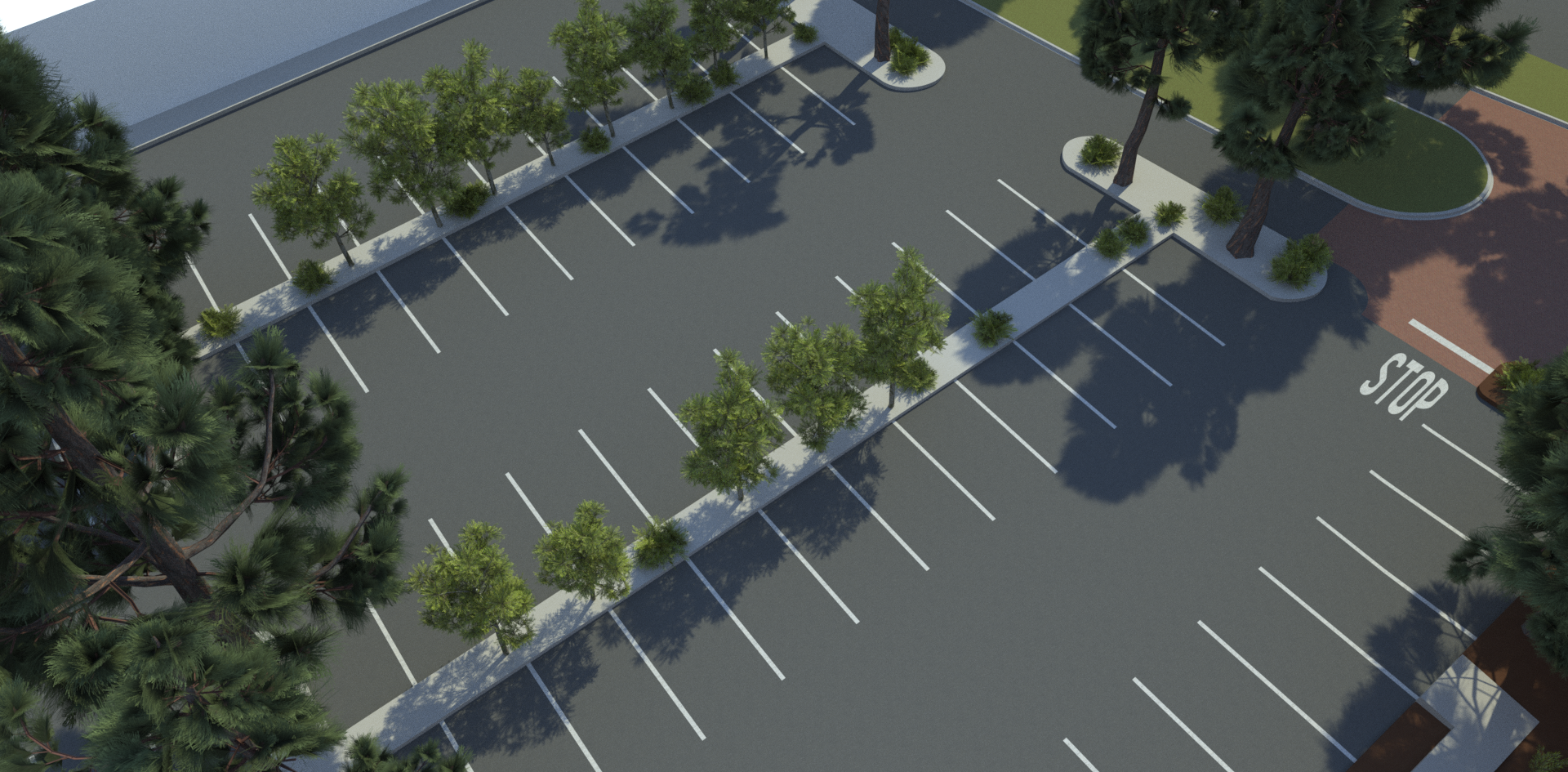 Parking Lot with Trees