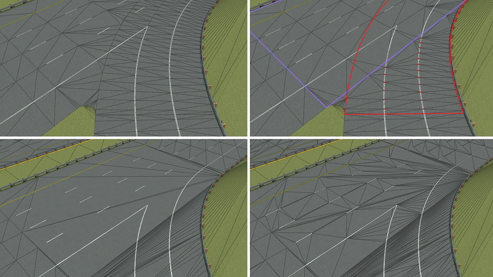 Various road triangulation options now available in VectorZero RoadRunner
