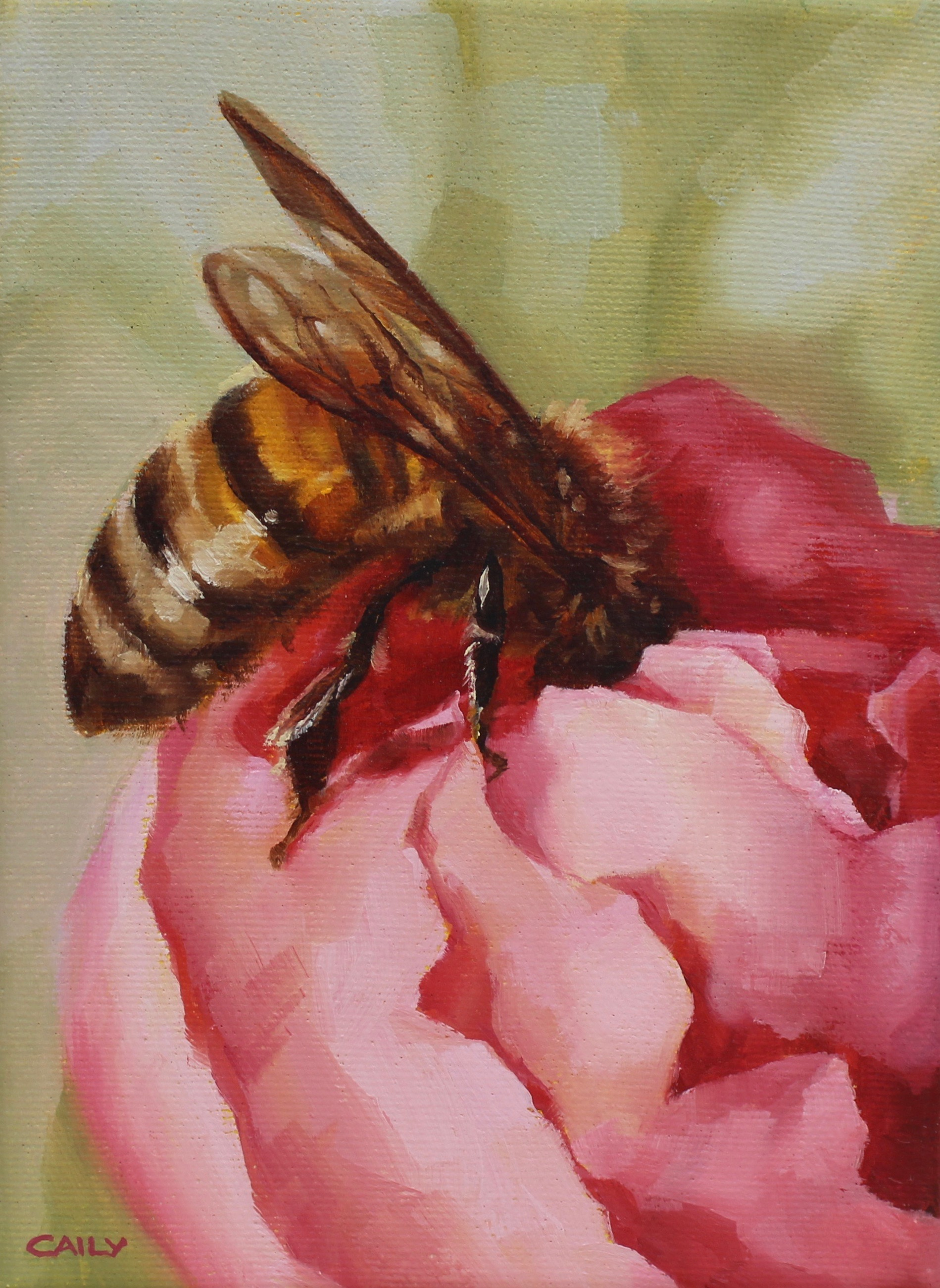 """Hollyhock Honey Bee"""