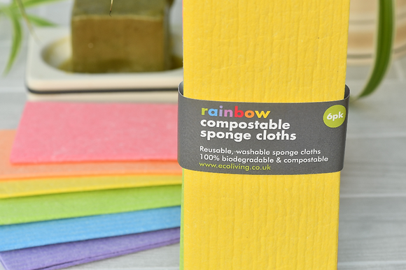 Compostable Sponge Cleaning Cloths - Rainbow 6-pack