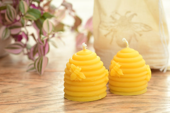 Beehive Skep Candle Set of 2