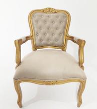 Cadeira Luiz XV Dourada - Ref. 1342