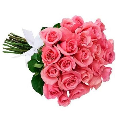 Ramalhete com 24 rosas cor de rosa