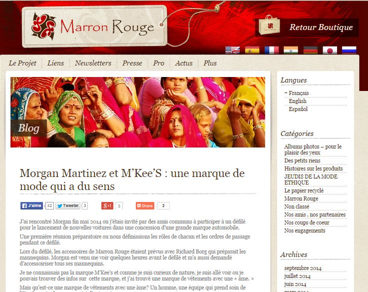 Article sur le Blog Marron Rouge