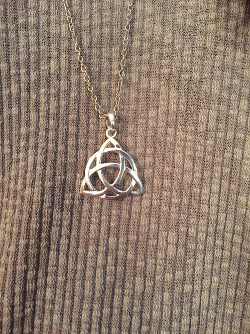 Celtic knot long necklace silver plated celtic knot necklace pendant aloadofball Choice Image