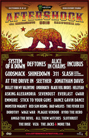 System Of A Down, Deftones, Godsmack, Incubus, Alice In Chains And Many More at 2018 Sacramento'