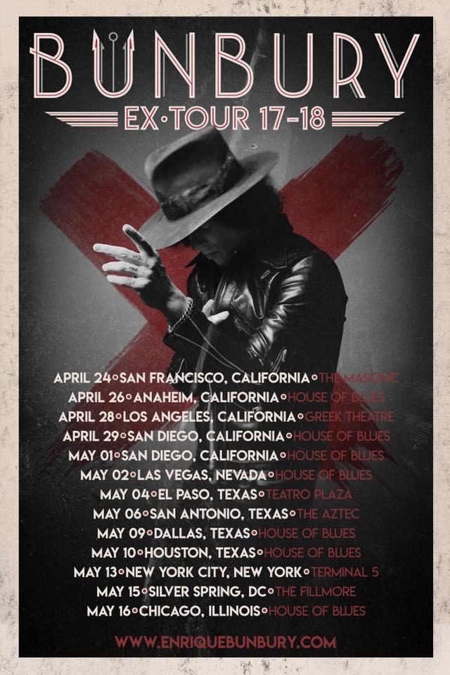 El EX-Tour 17-18 de Bunbury Finalmente Llega a Estados Unidos