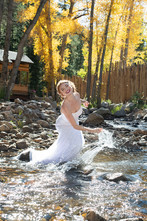 Bride Playing in the River Water at Blackstone Rivers Ranch