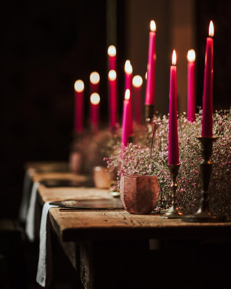 allestimento tavolo matrimonio con candele