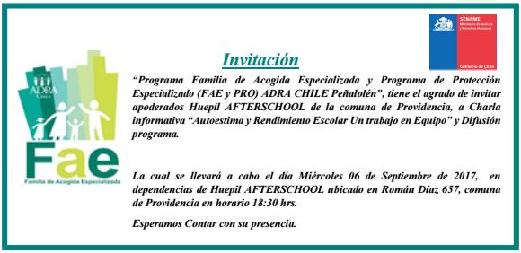 Inviación Charla FAE Autoestima y rendimiento escolar en Hupil Afterschol