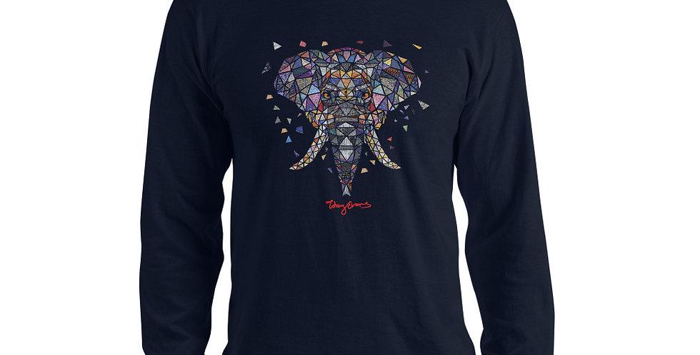 ज्यामितीय हाथी सूती लंबी आस्तीन टी शर्ट