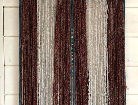 Burgundy and Grey Yarn Wall Hanging