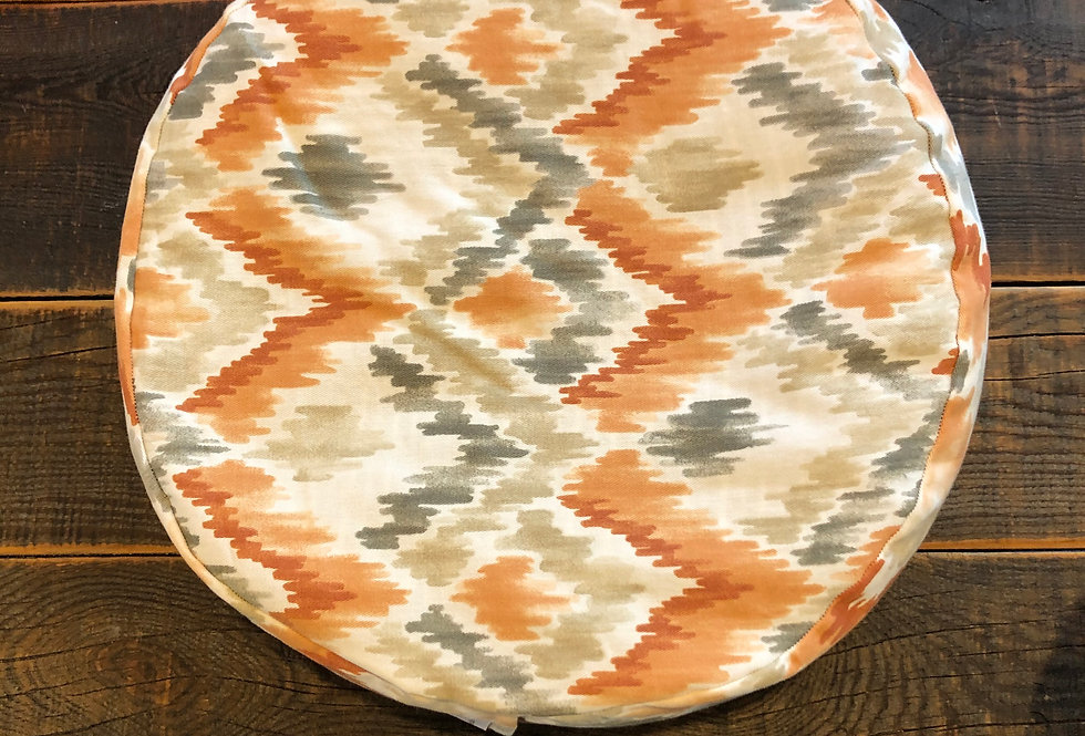 Orange & Grey Aztec Print Meditation Cushion