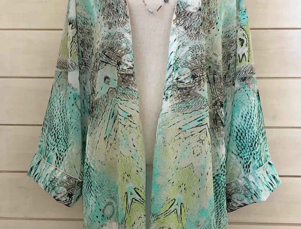 Green & Black Exotic Print Kimono