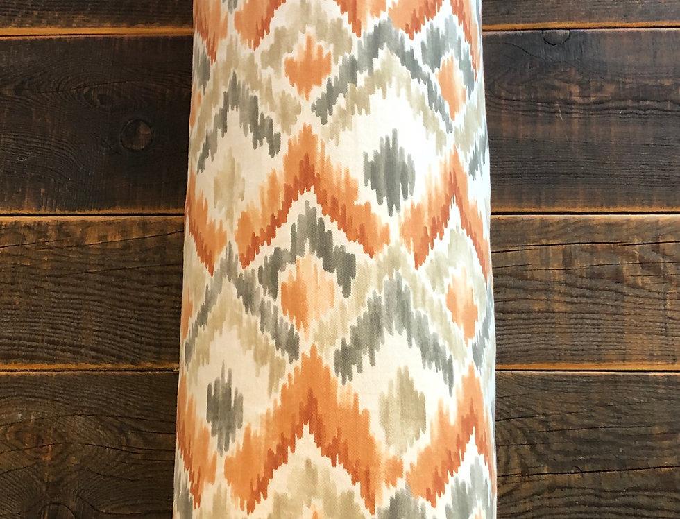 "Orange & Grey Aztec  print bolster (24.5"" around)"