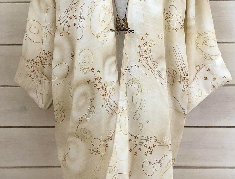 Lemon Cream Floral Print Kimono
