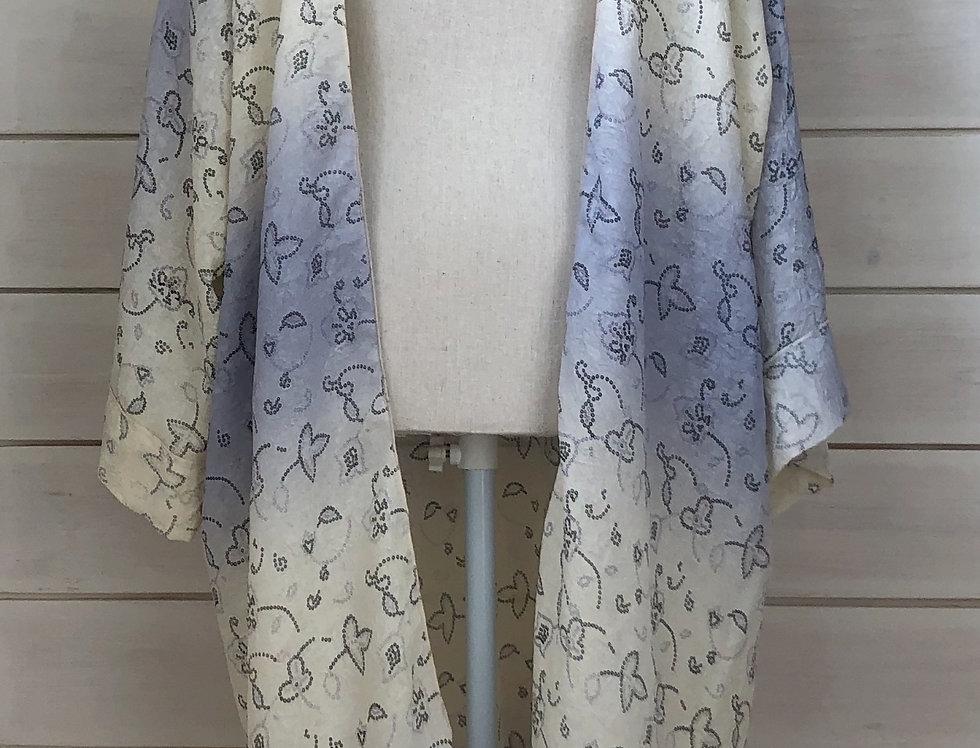 Two tone antique print kimono