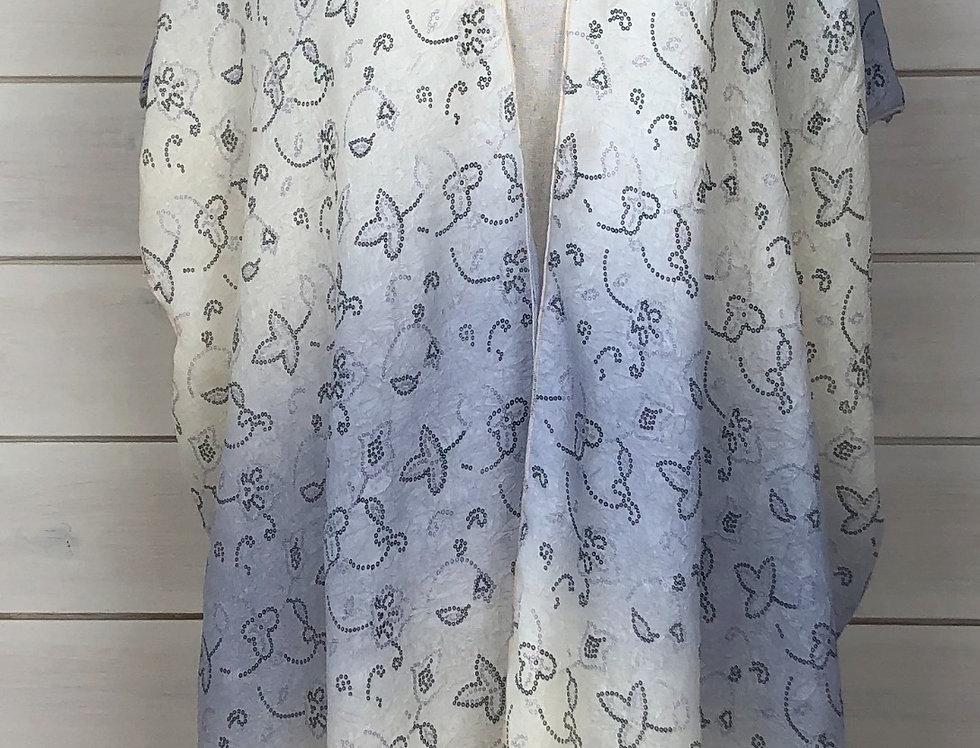 Two tone antique print kimono (short sleeve)