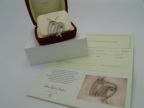 Original WEMPE Collier in 18K Weißgold mit 111 Diamanten 0,98ct