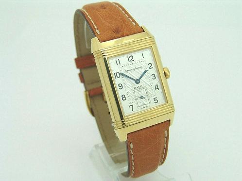 OriginalJaeger LeCoultre Reverso Uhr Handaufzug  in 18K Gelbgold an Lerderband