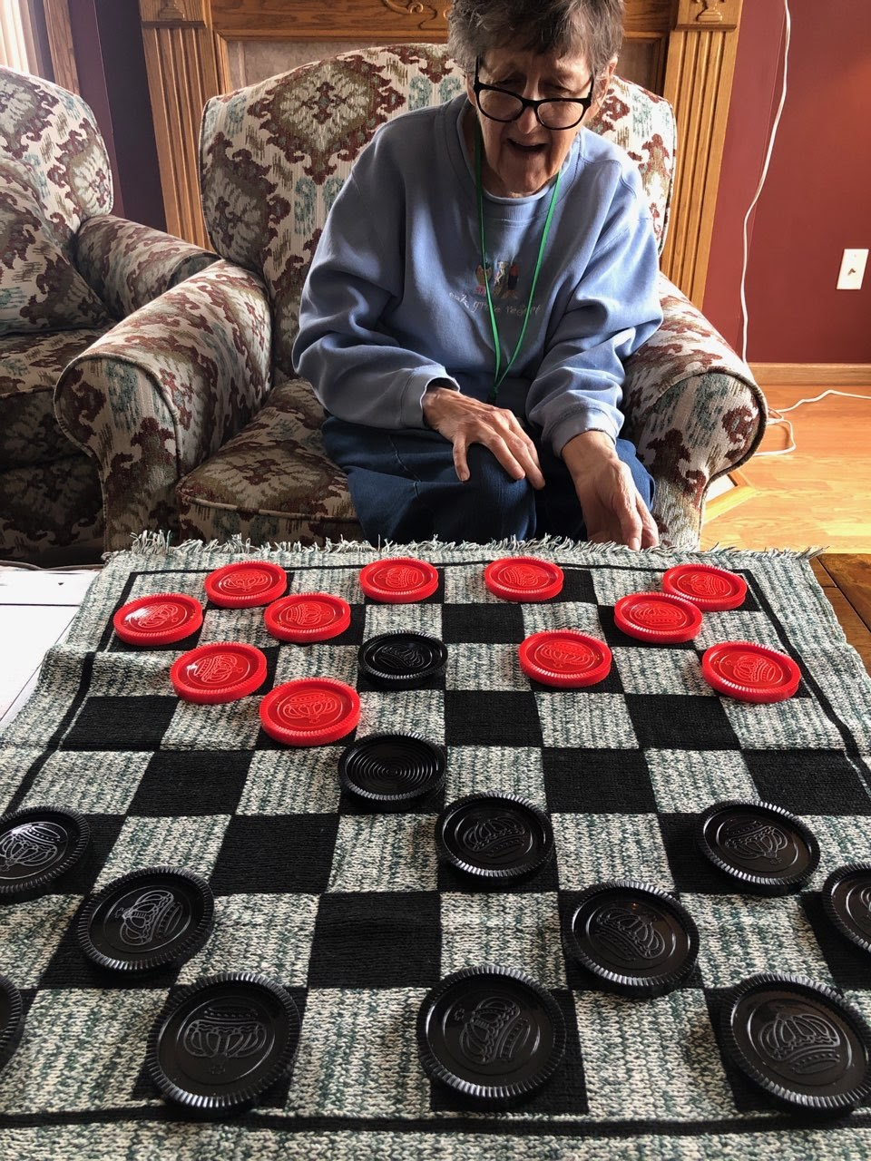 Intense game of checkers