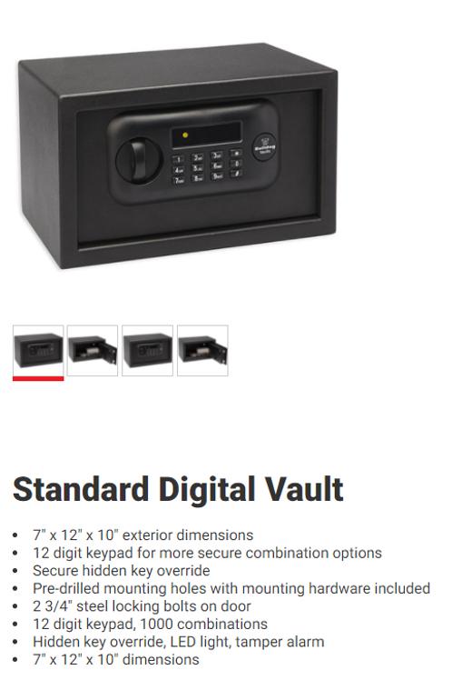 "Bulldog BD1050 Standard Digital Pistol Vault 12"" x 8"" x 7"",Black"