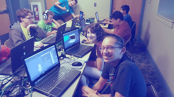 A group of Tech Campers learning 3D Design at Technology Camp