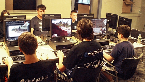 Emaingtion Tech Camp campers learning game design with Unreal Engine