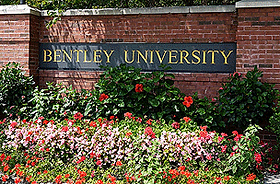 Bentley University Campus Sign - Waltham, MA 02452 - Emagination Tech Camp MA location
