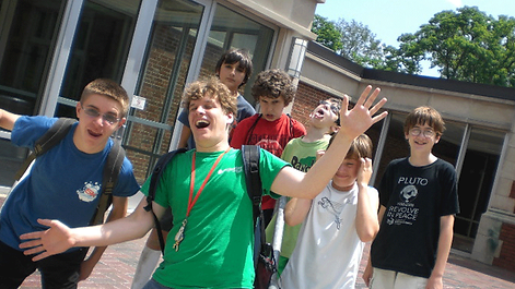 A group of campers at Technology Camp hanging out together