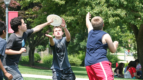 Emagination Tech Campers playing frisbee