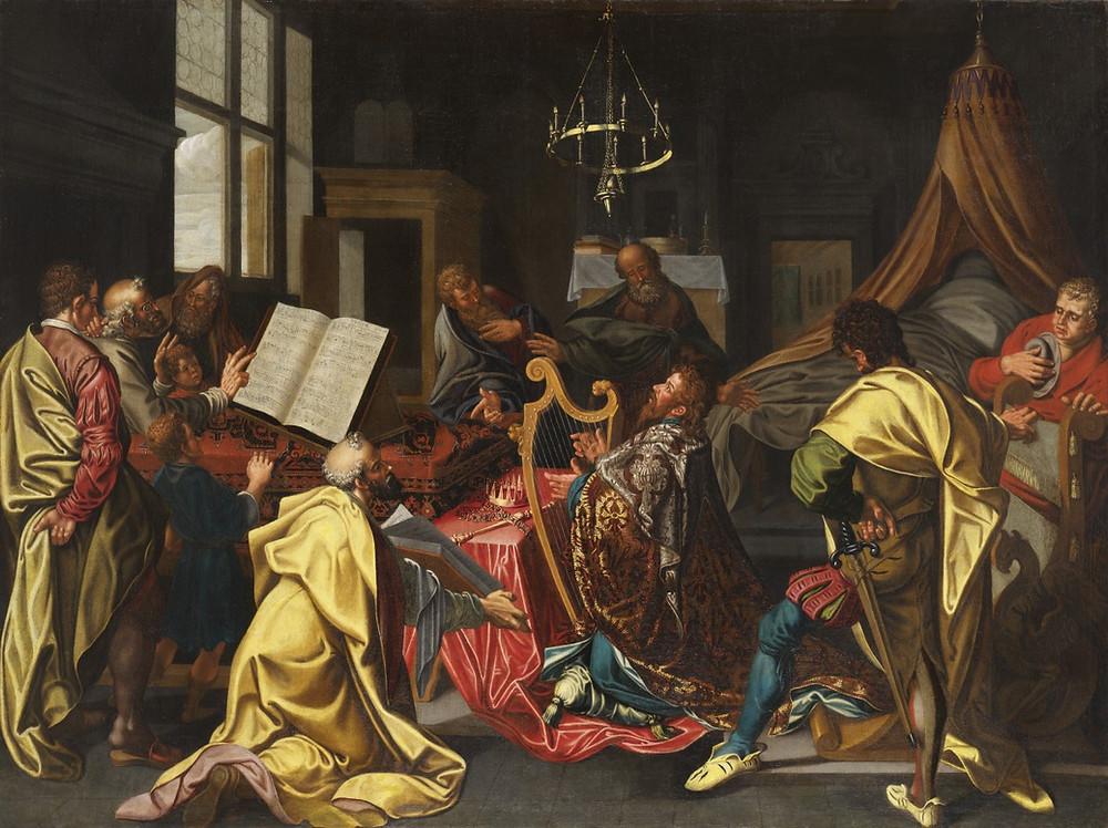 Peinture de l'Ecole hollandaise représentant David jouant de la harpe
